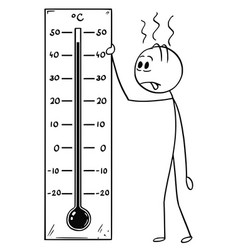 Cartoon of man holding celsius thermometer vector