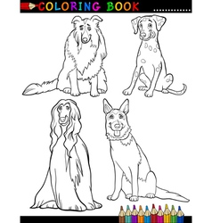 Cartoon purebred Dogs Coloring Page vector
