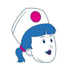 Cartoon woman nurse head female character vector