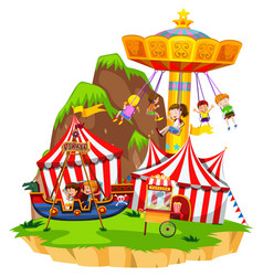 Children playing on rides in amusement park vector