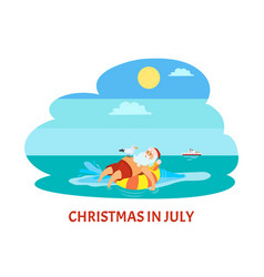 Christmas in july santa claus on life buoy seagull vector