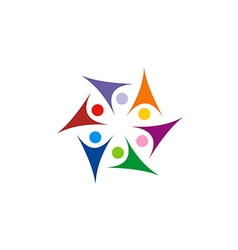 circle star people group colorful connect joy logo vector image