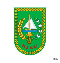 Coat arms riau is a indonesian region emblem vector