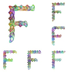 Colorful ellipse fractal font - letter F vector