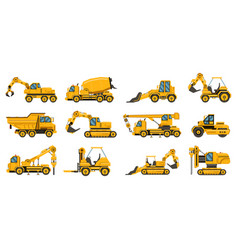construction machinery heavy road equipment vector image