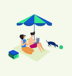 couple vacation in beach vector image