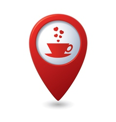 cup with hearts map pointer red vector image