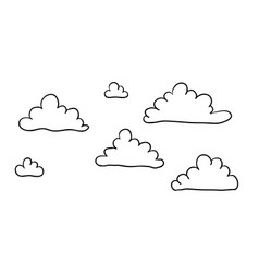 Cute cartoon contour clouds isolated on white vector