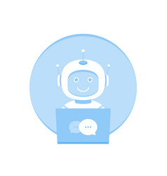 cute smiling chat bot working in behind laptop vector image