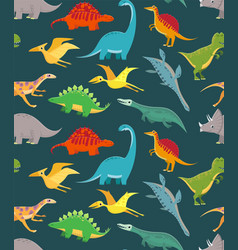 Dinosaur seamless pattern cute kids dinosaurs vector