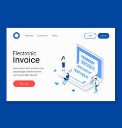 Electronic invoice notice payment vector