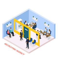 Employment recruitment isometric composition vector