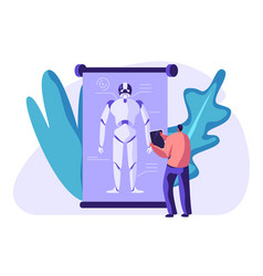 engineer create robot artificial intelligence vector image