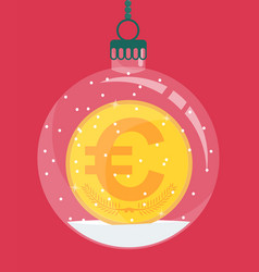 euro gold coin inside christmas decoration vector image
