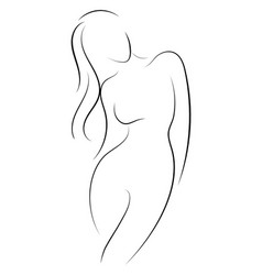 Female figure outline young girl stylized vector