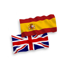 Flags great britain and spain on a white vector