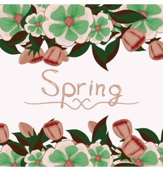 Floral card with the word spring vector