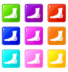 foot heel icons 9 set vector image
