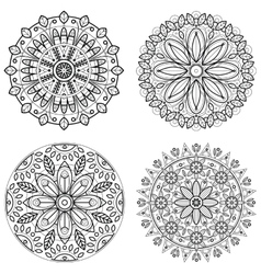 Four round ornaments - spring flower Mandala set vector