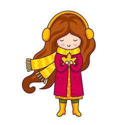 girl in a dark pink coat and a big knitted yellow vector image