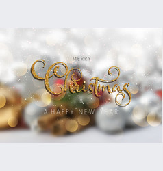 glittery christmas text on a defocussed background vector image