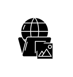 global cases black icon sign on isolated vector image
