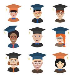 graduation man and woman avatars vector image