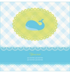 greeting card with blue whale vector image vector image