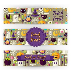 Halloween Holiday Template Banners Set in Modern vector