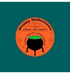 Halloween logo sign with cauldron vector image