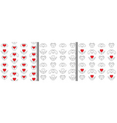 Hand and heart seamless patterns set vector