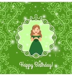 Happy Birthday greeting with princess vector image