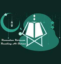 Happy ramadan kareem reading quran background vector
