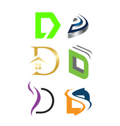 Initial letter d logo pack vector