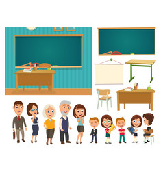 Interior of classroom with desk and blackboard vector