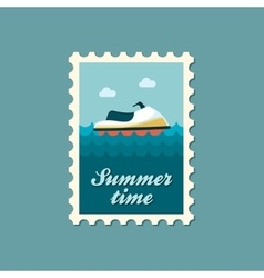 Jet ski flat stamp vector
