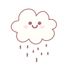 kawaii cloud rain weather cartoon cute vector image
