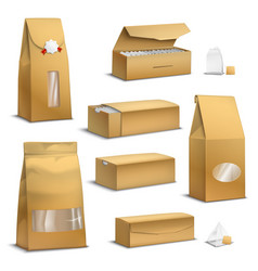 kraft paper tea packs realistic vector image