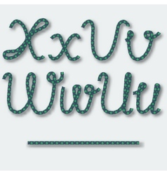Letters U V W X - handwritten alphabet of rope vector