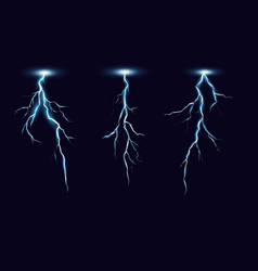 lightning set in realistic vector image