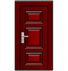 Luxury mahogany wooden entrance door vector
