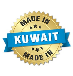 made in Kuwait gold badge with blue ribbon vector image