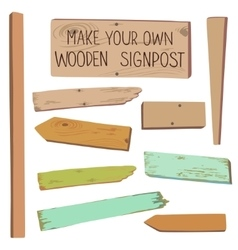 Make your own wooden singpost vector
