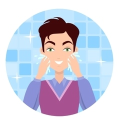 Man Face Wash Washing Shaving Moisturizing vector image