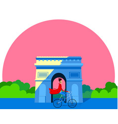 man on a bicycle in front of the arc de triomphe vector image