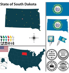Map of South Dakota vector