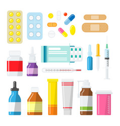 Medicine pills tablets and bottles in a flat style vector