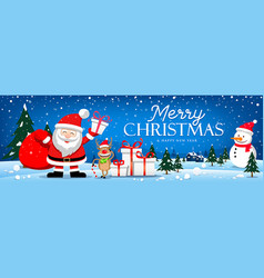 merry christmas santa claus and reindeer banner vector image