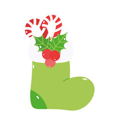 Merry christmas stocking candy canes mistletoe vector