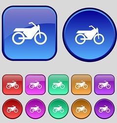 Motorbike icon sign a set of twelve vintage vector